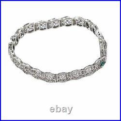 Emerald Diamond 1930s Antique Art Deco Filigree Bracelet 14k White Gold 6.75inch