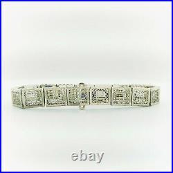 Estate ART-DECO Style 14K White Gold Diamond Sapphire Vintage Bracelet