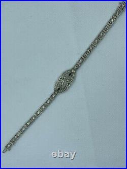 Estate Antique Art Deco Diamond Sapphire 14K White Gold Filigree Bracelet 7 1/8