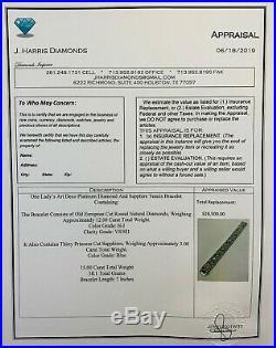 Estate Art Deco Platinum 15.00 CTW Diamond & Sapphire Tennis Bracelet