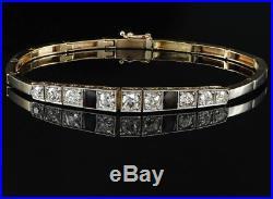 Excellent Art Deco 2.30 Ct Old Cut Diamond Riviere Bracelet -plat/18kt