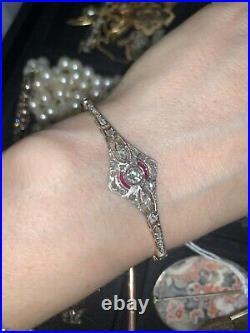 Exquisite 18K Gold and Platinum Art Deco Ruby and Diamond Ornate Bracelet