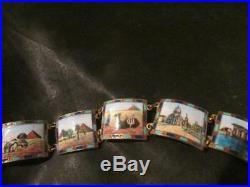 Exquisite Art Deco Egyptian Revival Enamel Scenic Panel Bracelet