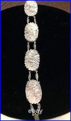 Exquisite Art Deco, Hand-Carved Pink Jade, Sterling Silver Gold Gilt Bracelet 7