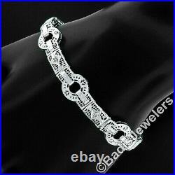 FINE Antique Art Deco 14k Gold Single Cut Diamond Filigree Milgain Line Bracelet