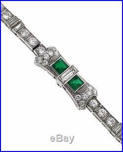FINE QUALITY Art Deco Emerald and Diamond Line Bracelet in Platinum HM1050