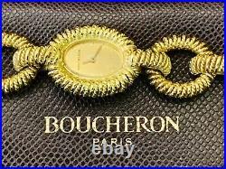 Fabulous BOUCHERON 18Kt Gold Oval Links Bracelet Watch France Circa 1960'sRARE