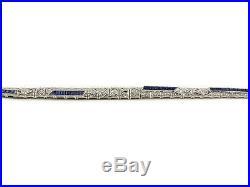 Feines Art Deco Saphir Diamant Armband in Weißgold um 1920 Diamond Bracelet
