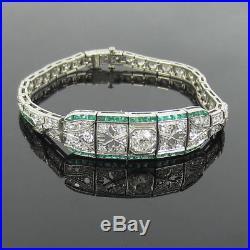 Fine Antique Art Deco 5.0ct Diamond & 1.50ct Emerald Platinum Filigree Bracelet