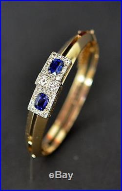 Fine Art Deco Kashmir color Sapphire Diamond Bangle Gold Platinum Bracelet 1920s