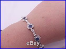 Fine art deco design heavy 18ct gold 1.70ct diamond 2.1/4ct sapphire bracelet
