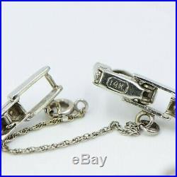 Florina 14k White Gold 1 Carat Diamond Swiss Watch Art Deco 17j Incabloc