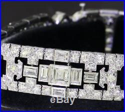 Fougeray 1930's heavy Platinum Art Deco 20.0CT VS1/F diamond link bracelet
