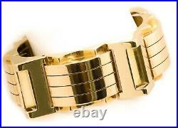 French 1940 Art Deco 18 Kt Yellow Gold Retro Machine Age Bracelet Massive 132.4