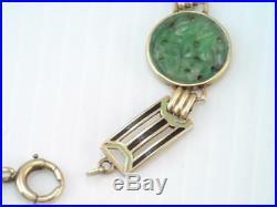 GORGEOUS ANTIQUE Art Deco 14K GOLD ENAMEL CARVED JADE STONE BRACELET STUNNING