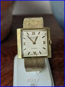 Gents Boxed Rotary Gold Plated Mesh Bracelet Art Deco Dress Watch Working