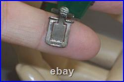 German Sterling Silver Art Deco Chrysoprase & Marcasite Link Bracelet