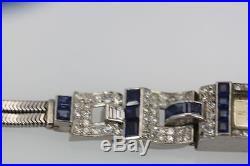Gorgeous Art Deco Diamond Platinum 90/10 Sapphire Watch Bracelet Circa 1935