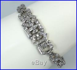 Gorgeous Art Deco Diamond Platinum Bracelet 7 1/4 Long Approx. 4 Carats 90/10