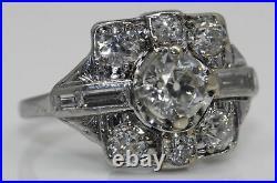 Gorgeous Art Deco Platinum Ring With 1.65 Ctw Old European Cut Diamonds #u23