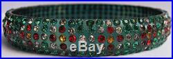 Great Vintage Art Deco Colorful Patterned Rhinestone Celluloid Bangle Bracelet