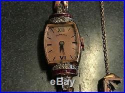 Hamilton 14K Rose Gold Diamond and Ruby Manual Bracelet Watch ART DECO