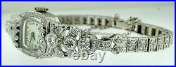 Hamilton Art Deco 3.50 TCW Diamond Art Deco Platinum & Gold Bracelet Watch30 Gm