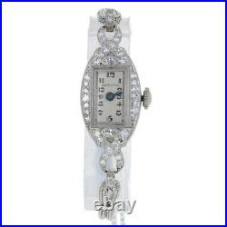 Hamilton Art Deco Diamond Ladies Watch Platinum &10k Gold Filled Quartz Conv