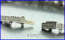 Handcarved Ladies Antique Art Deco Platinum 3.00ct Old European Diamond Bracelet