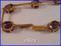 Heavy 10.72g 10k Yellow Gold 17.50ct Amethyst Art Deco Chain Tennis Bracelet