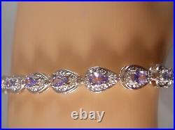 Heavy 10k White Gold Tanzanite Diamond Art Deco Victorian Tennis Bracelet 7