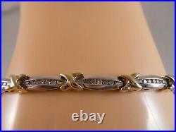 Heavy 10k Yellow Gold White Gold. 50ct Diamond Xo Art Deco Tennis Bracelet 7