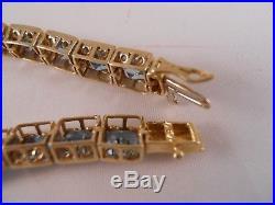 Heavy 13.79g 10k Yellow Gold 20.25ct Topaz Art Deco Chain Tennis Bracelet