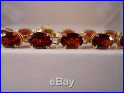 Heavy 14k Yellow Gold 13.75ct Garnet Art Deco Victorian Chain Tennis Bracelet 7