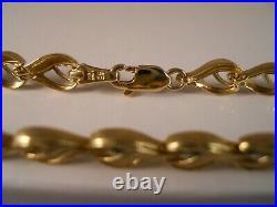 Heavy Ae 10k Yellow Gold Diamond Cut Flower Hearts Art Deco Chain Bracelet 5.48g
