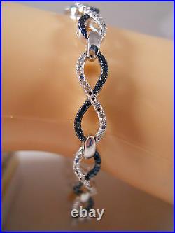 Heavy Kays Jwbr 10k White Gold Blue Diamond Infinity Art Deco Tennis Bracelet