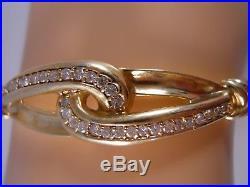 Heavy Rine 14k Yellow Gold Diamond Love Knot Art Deco Bangle Bracelet 6 3/4