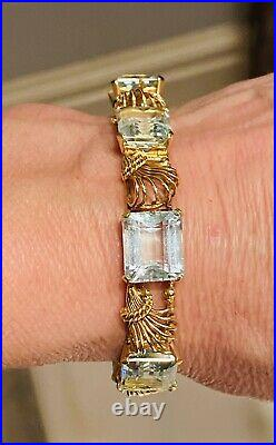 Impressive Art Deco 1940s Vintage Retro 14k Gold 30ct Aquamarine Bracelet