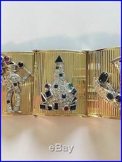 Impressive Retro 18K Yellow Gold Bracelet With Art Deco Platinum Charms