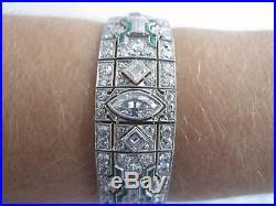 Incredible Vintage PLATINUM Emerald & DIAMOND Art Deco Filigree Bracelet