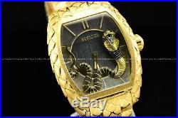 Invicta 47mm Tonneau Venom King Cobra 24K Gold Plated Swiss Snake Texture Watch