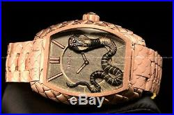 Invicta 47mm Tonneau Venom King Cobra Rose Gold Swiss Snake Texture Watch