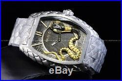 Invicta 47mm Tonneau Venom King Cobra Silver Swiss Snake Bracelet Texture Watch