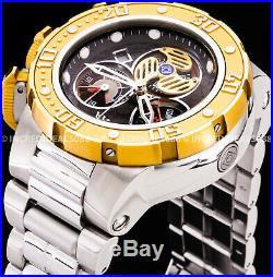 Invicta Men Subaqua Sea Dragon Chronograph 18K Gold Silver Bracelet 52mm Watch