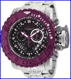 Invicta Mens 58MM Sea Hunter Burgundy Gen II Black Dial Swiss SS Bracelet Watch