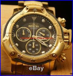 Invicta Mens Subaqua Poseidon Bolt Black 55MM MOP Dial Gold IP SS Bracelet Watch