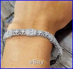 Judith Ripka 925 Sterling Baguette & Round Diamonique Art Deco Bracelet 8