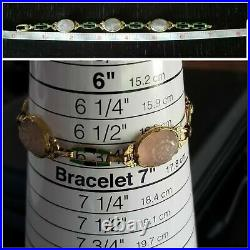 Krementz Art Deco 14k Gold Enamel Rose Quartz Bracelet-Women's Bracelet SZ 6.75