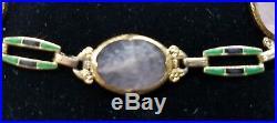 Krementz Art Deco 14k Gold Rose Quartz Enamel Bracelet/14k Gold Enamel Bracelet
