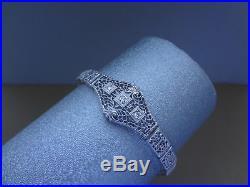 LOVELY VINTAGE 14K WHITE GOLD ART DECO FILIGREE BRACELET With DIAMONDS